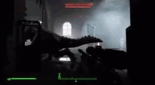 Когда прячешься от когтя смерти Fallout 4, Гифка, Чужой, Страх, Коготь смерти