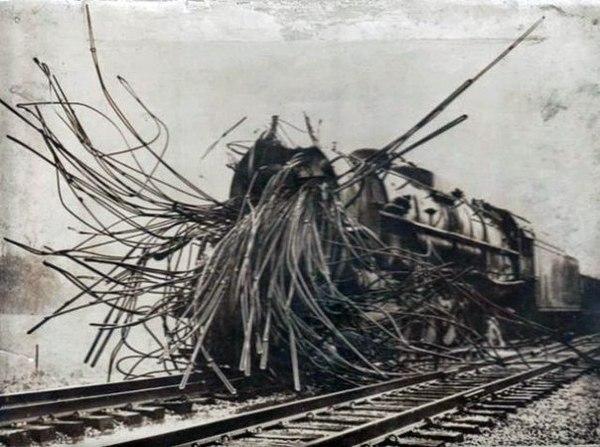 Паровозы после взрыва котла Паровоз, Котел, Взрыв, Boom