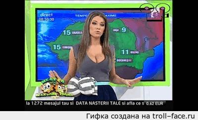 Как вам такой прогноз погоды? Прогноз погоды, Сиськи, Roxana Vancea, Гифка