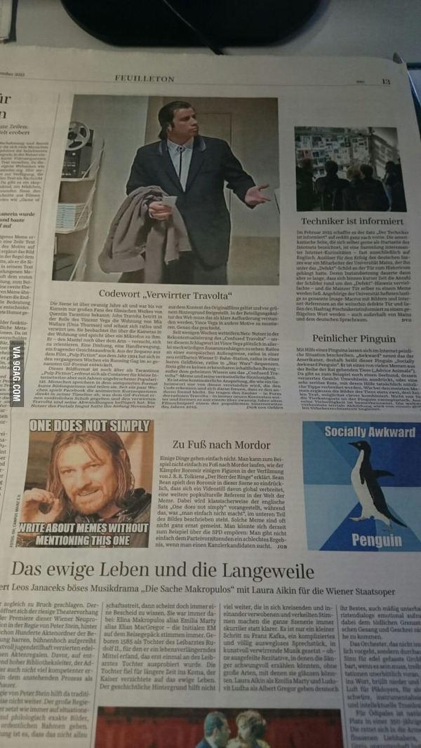 Сегодня в немецкой газете
