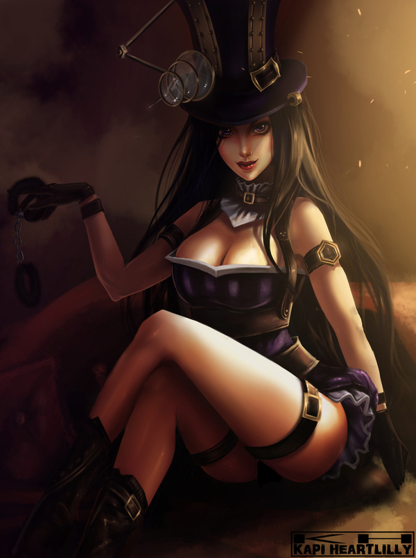 Caitlyn League of Legends, Anime Art, LOL, Аниме, Арт, Девушки