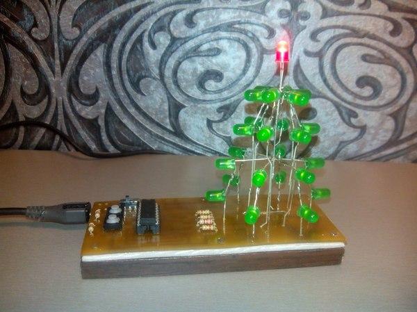 Новогодняя елка из светодиодов Своими руками, Ёлка, Новый Год, Светодиоды, AVR, Микроконтроллеры, Длиннопост