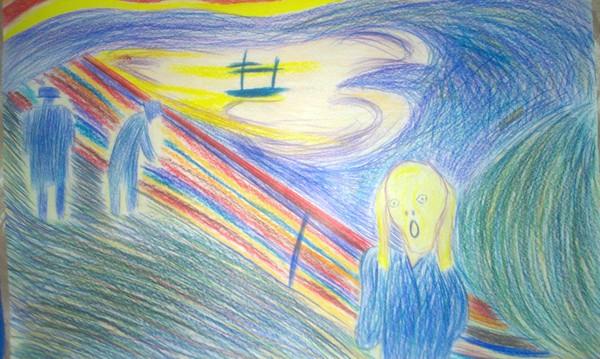 Подарок на День Рождения Эдвард Мунк, Крик, Дети, Рисунок, Арт, Искусство, Картина, Подарок