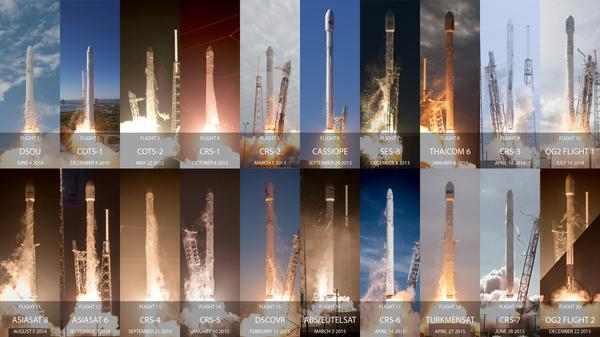 Все запуски Falcon 9