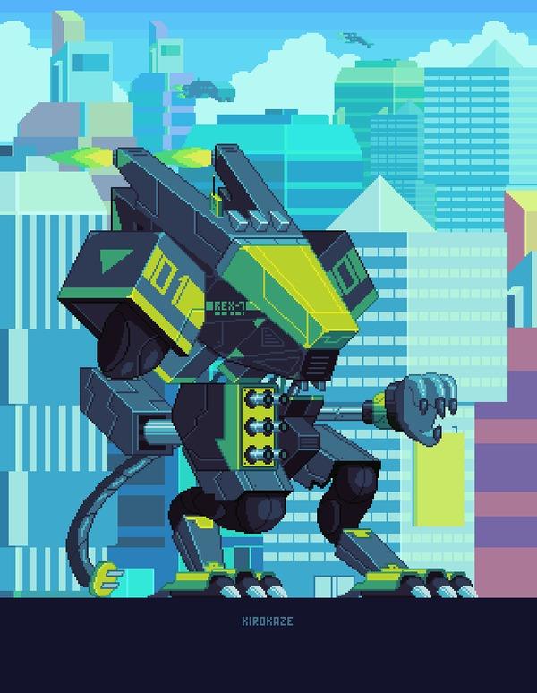 Работы Азербайджанского художника Gerardo (Kirokaze) Quiroz Pixel art, Gustavo Viselner, Gerardo Quiroz, Kirokaze, Гифка, Длиннопост