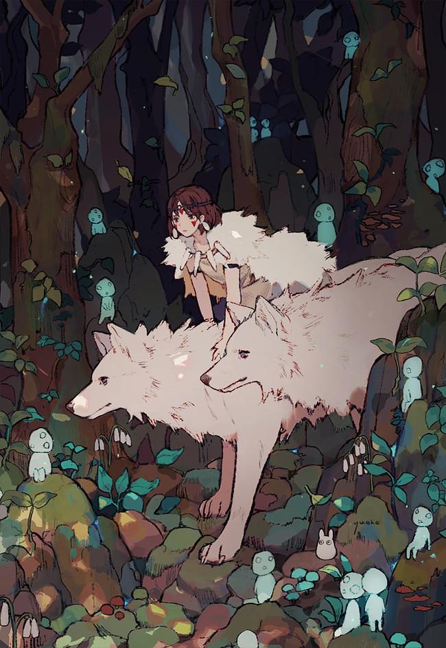 ByJiayue Wu Jiayue Wu, Арт, Аниме, Рисунок, Anime Art, Принцесса Мононоке, Лес, Волк