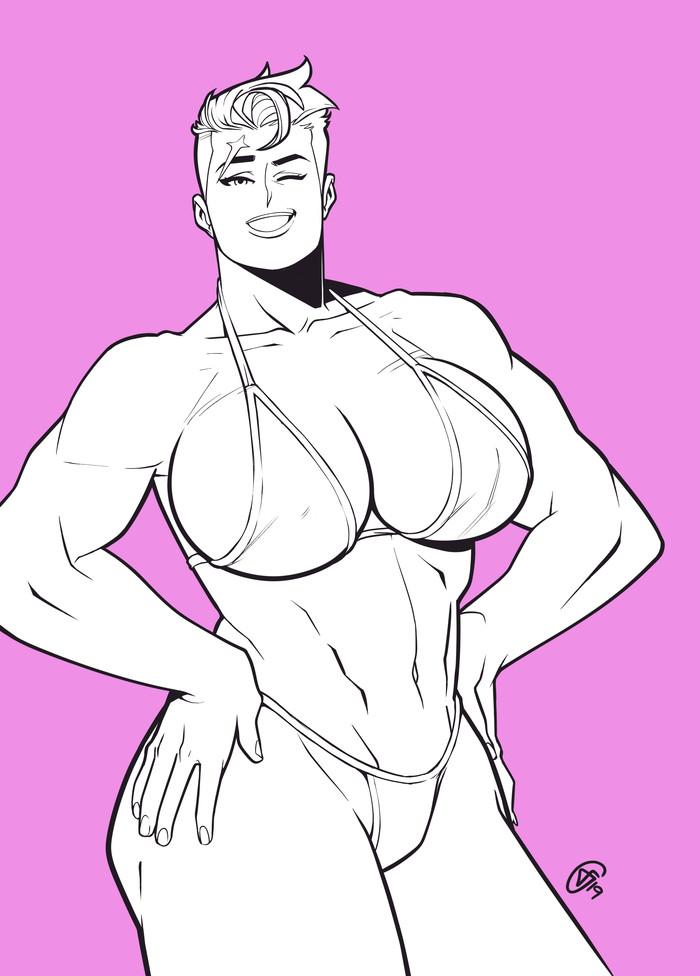 Zarya Swimsuit Modelling Federico Iglesias, Арт, Крепкая девушка, Сну-Сну, Zarya, Overwatch, Девушка-Бодибилдер, Длиннопост