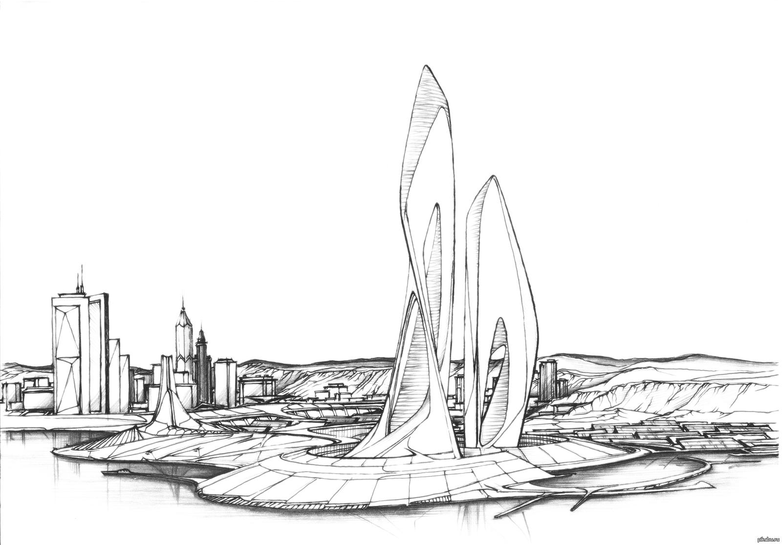 Надписью собр, картинки город будущего нарисованные карандашом