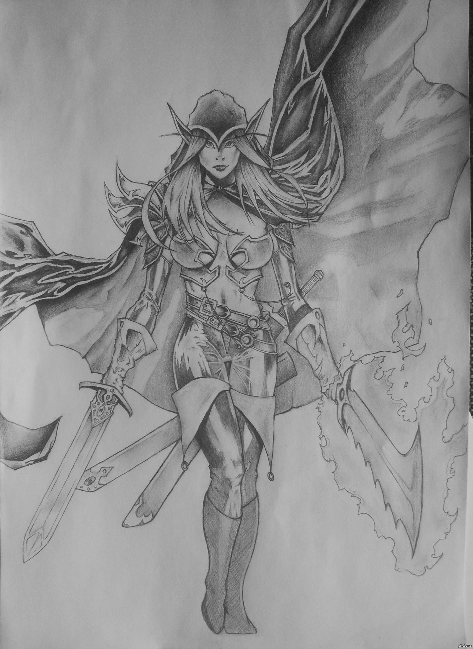 Кровавая эльфийка сиськи