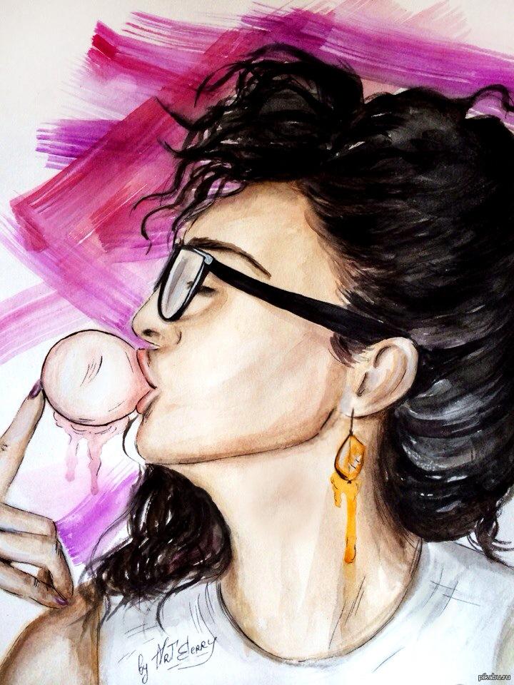 Картинка девушка с жвачкой нарисованная