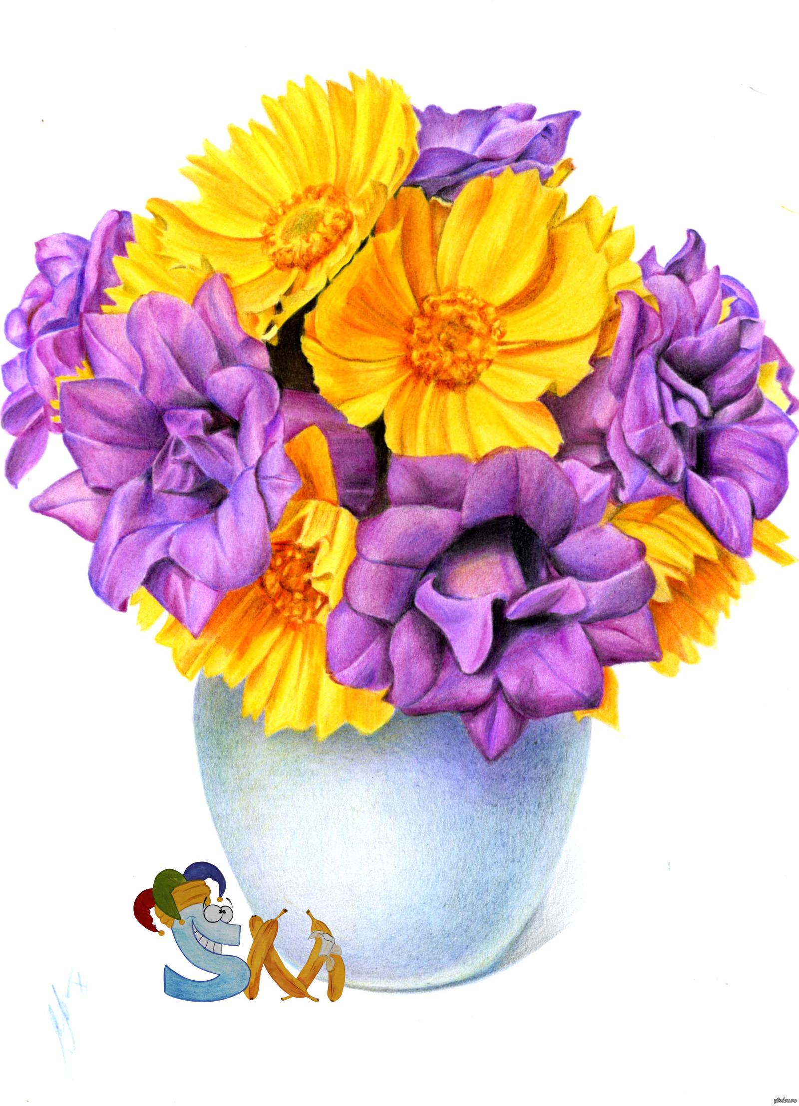 Цветы букет рисунок цветной, смешные смерти