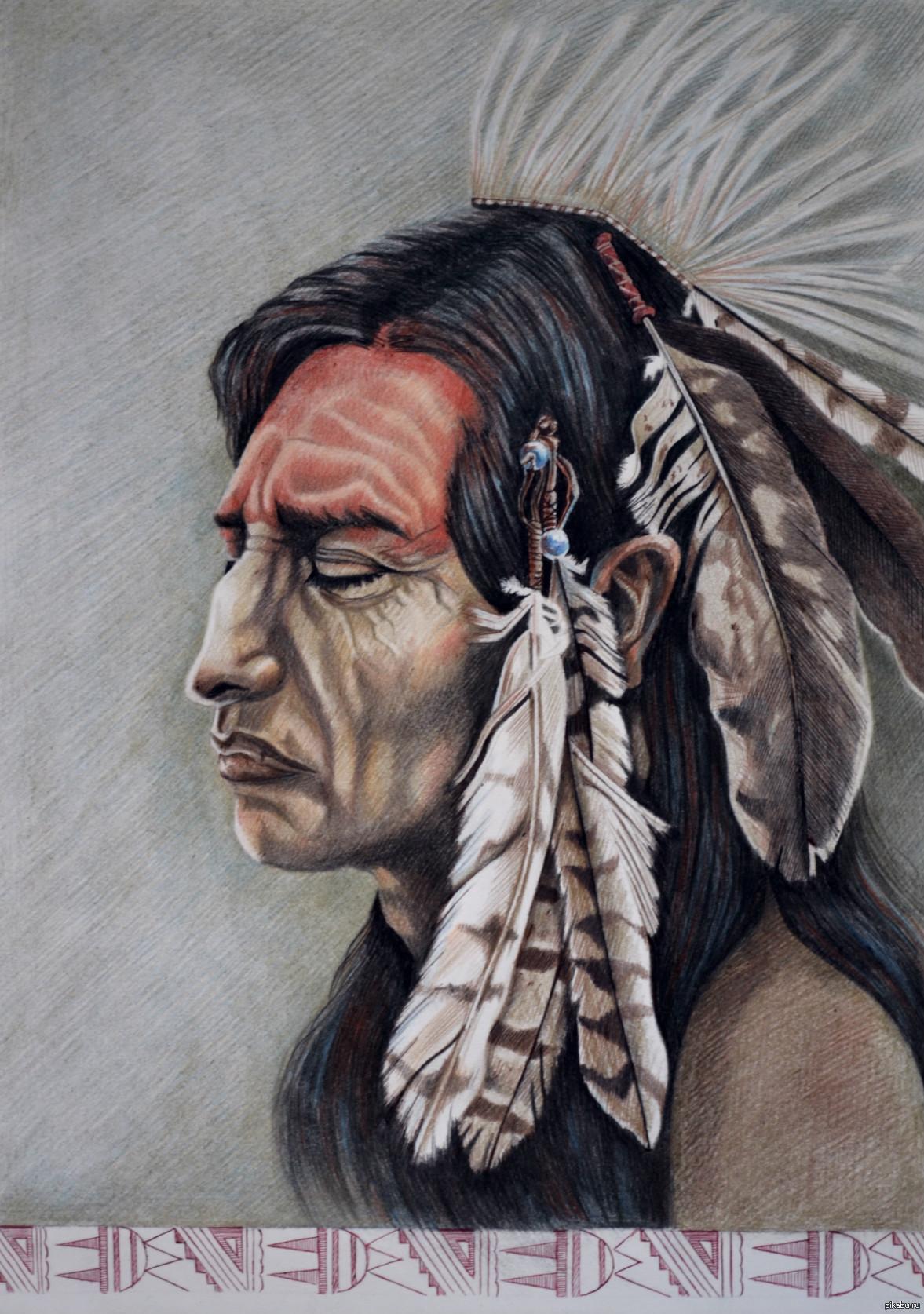 как нарисовать индейца фото преддверии