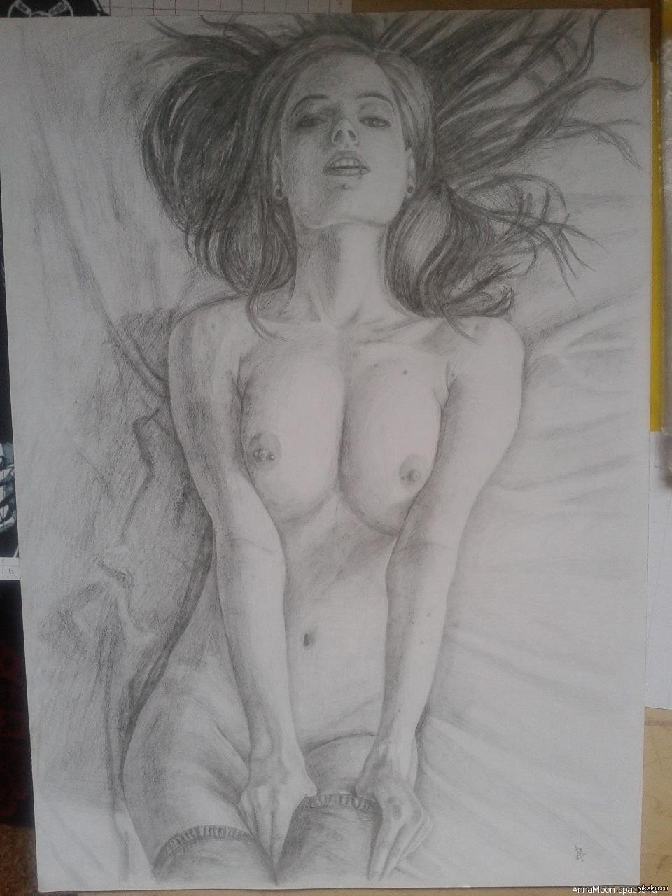 Эротика рисунки карандашом девушки, золотой