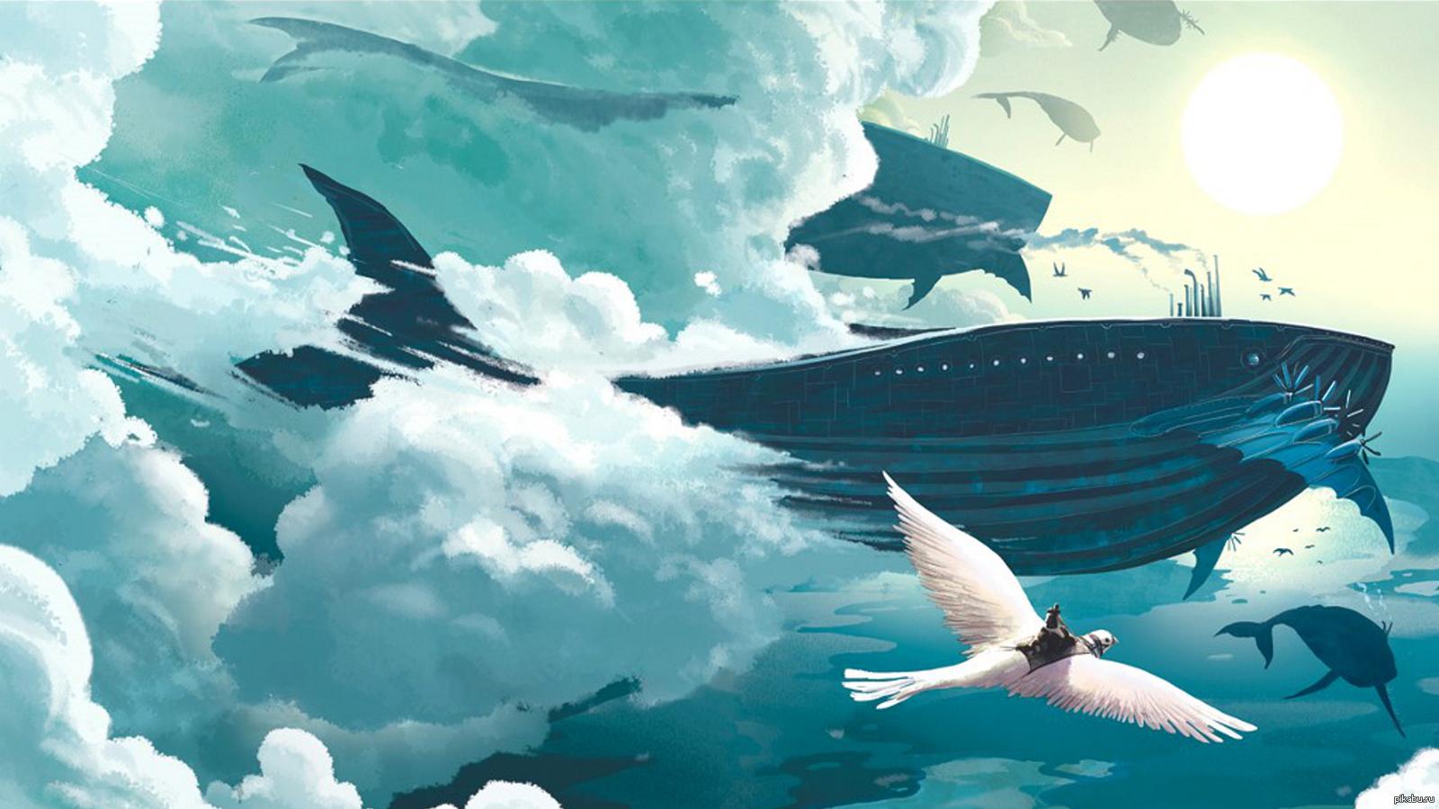 Арты киты в океане