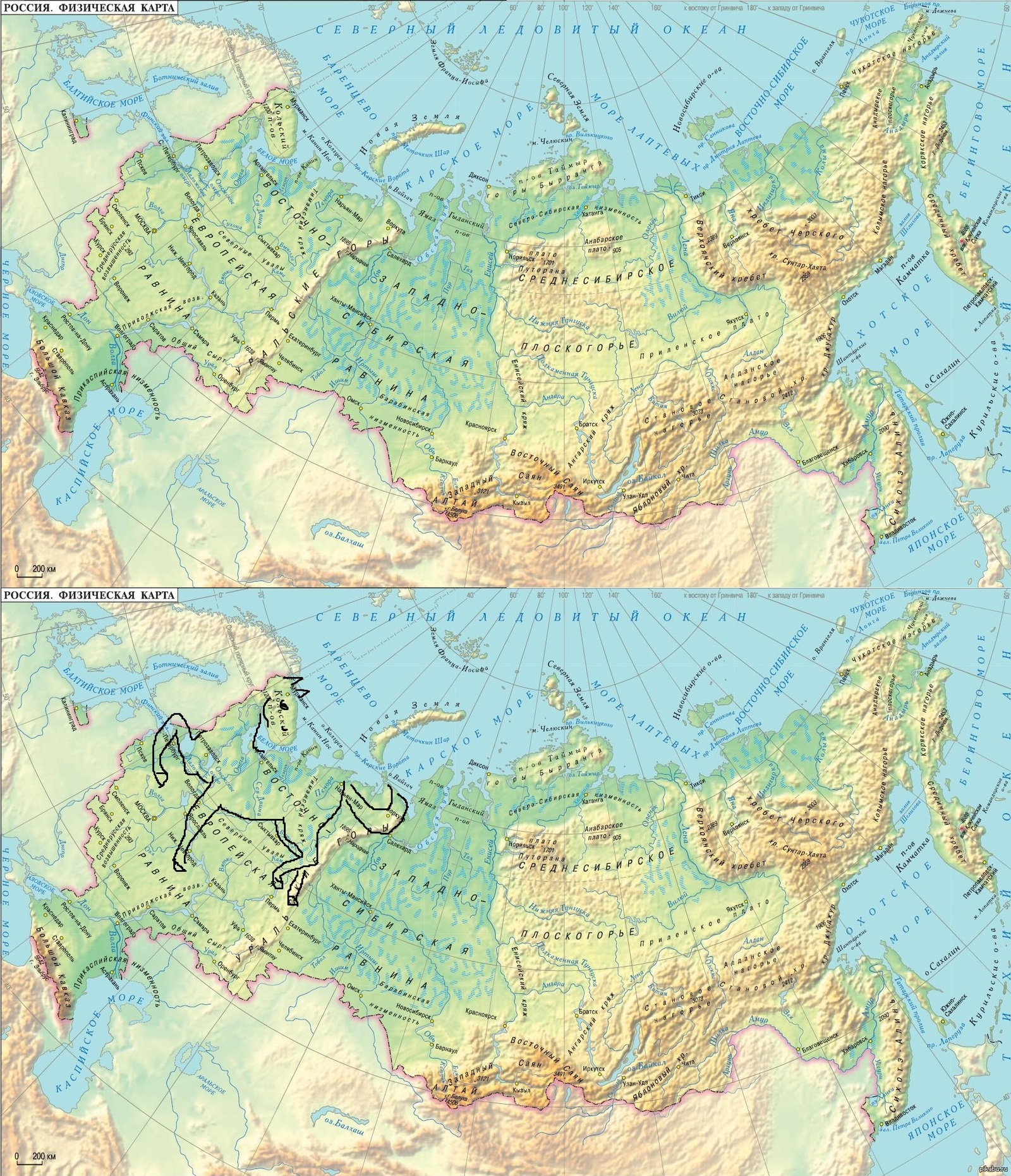 физическая карта россии картинка немного фото
