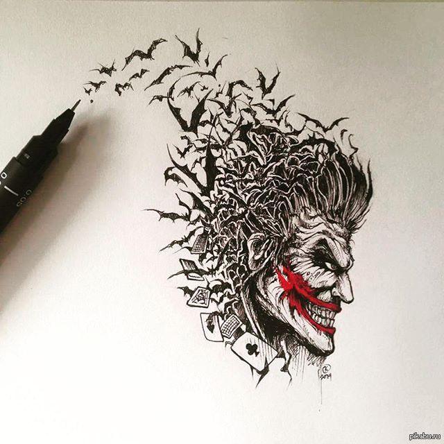крутой татушки рисунок черной ручкой водопад горы