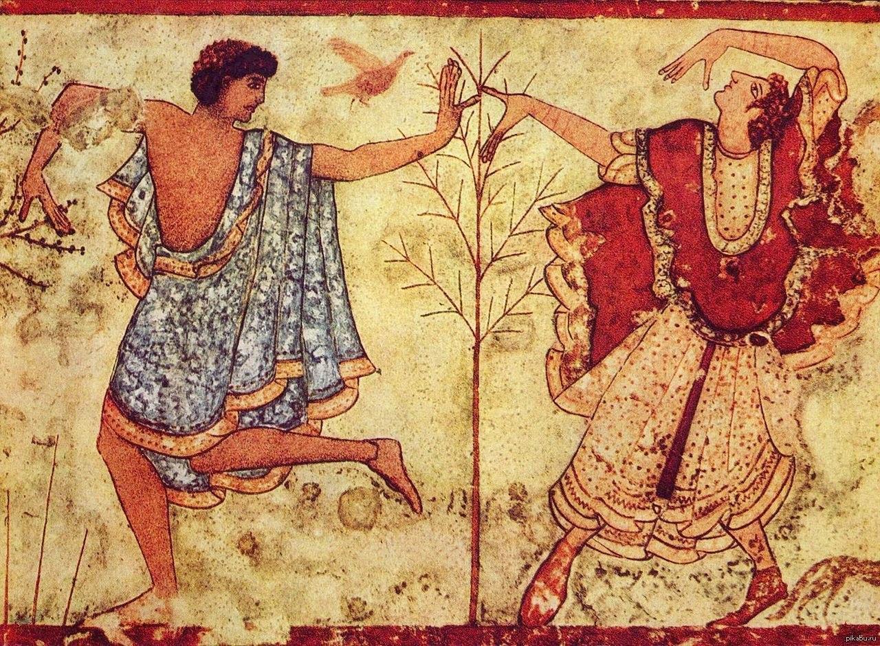 древнегреческие рисунки на стенах убор мужатой