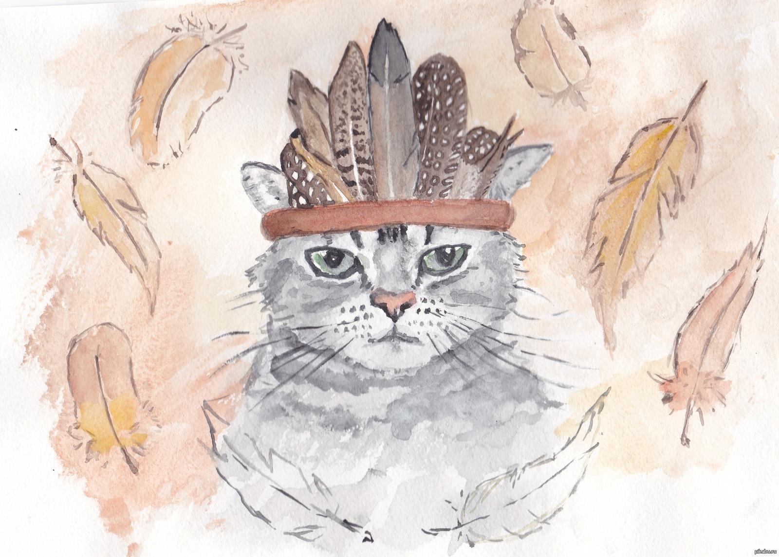Картинки котов акварелью