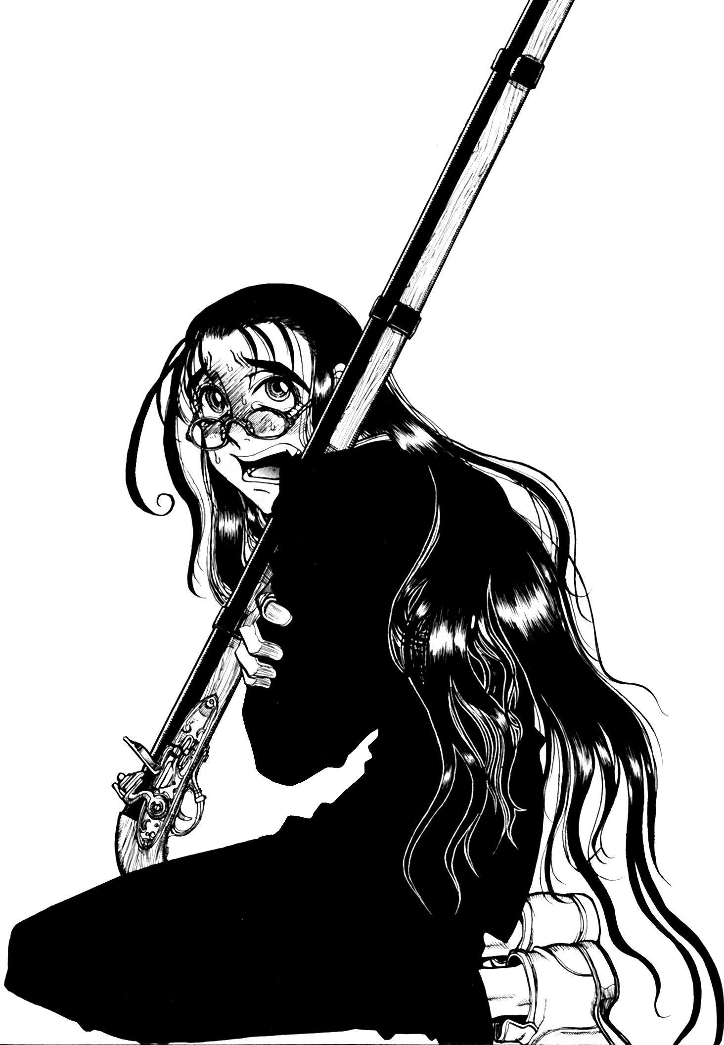 черно белые аниме арты картинки