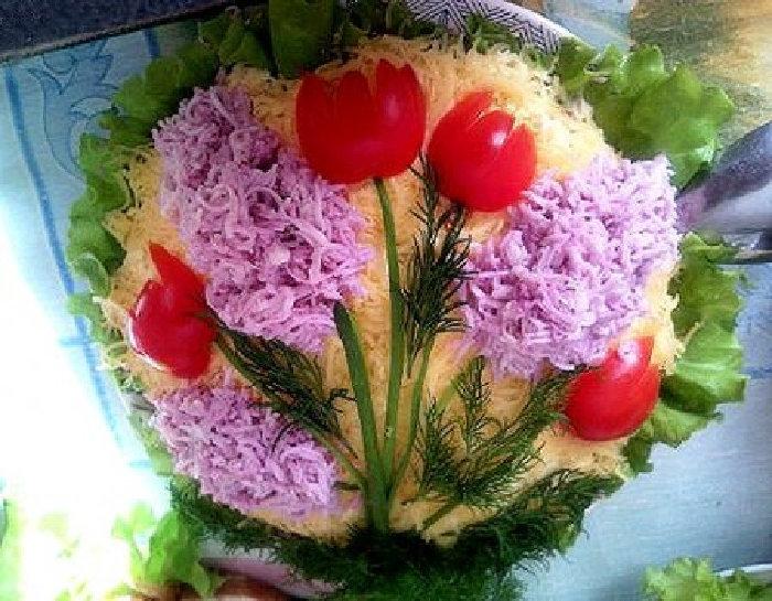 Украсить салат мимоз